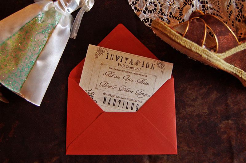 invitación de boda steampunk