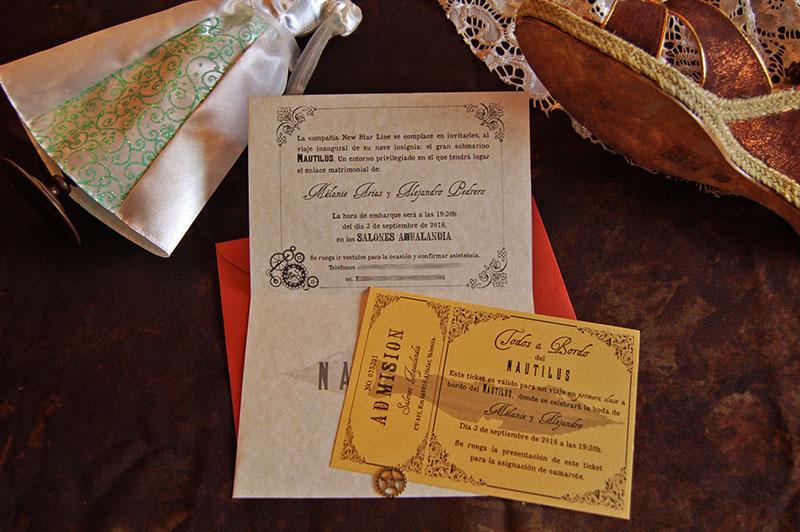 invitación boda steampunk